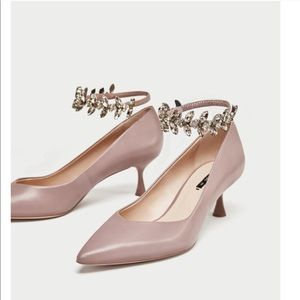 Leather Court Shoes w/ Bejeweled Strap
